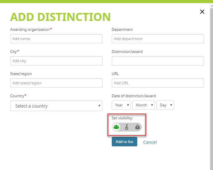 Add Distinction to ORCID record