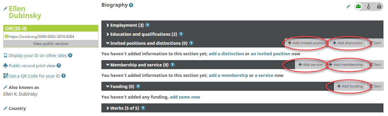 Add funding and other information to your ORCID record