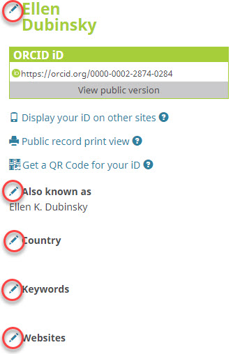 Adding Identifying Information to ORCID record