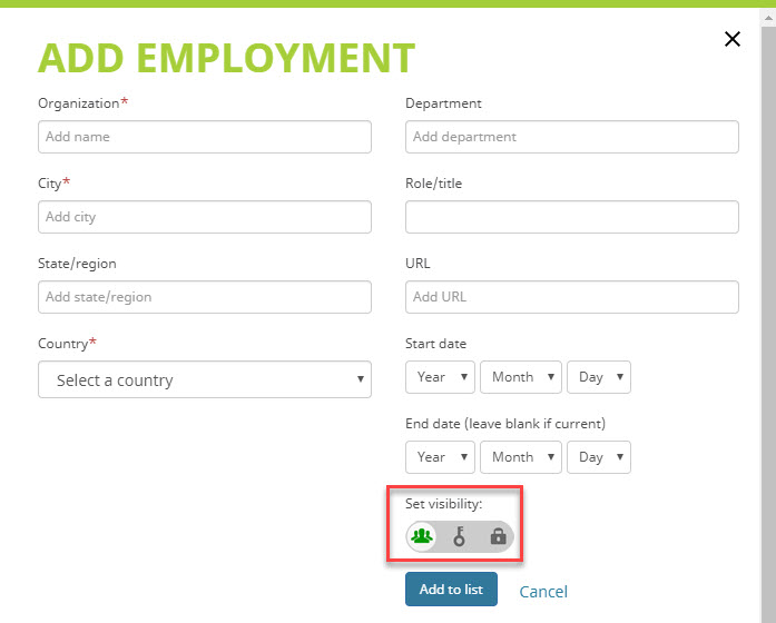 Add an employment affiliation to ORCID record