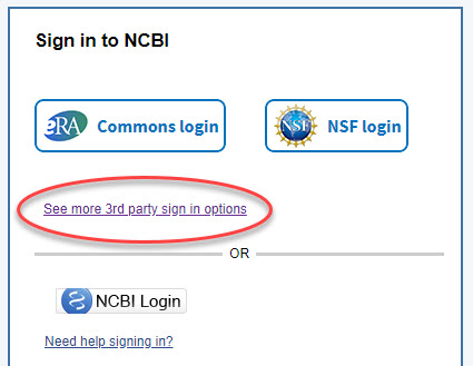 NCBI third-party sign-in