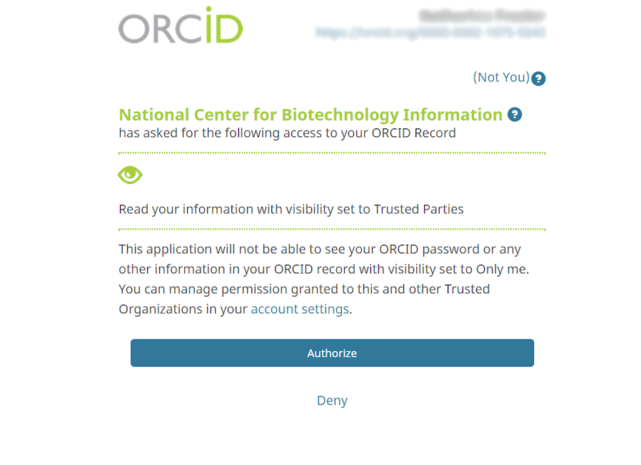 Authorize NCBI access to your ORCID account