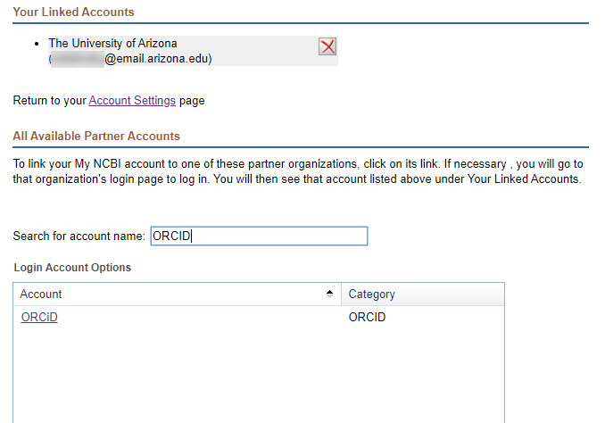 Select ORCID as Partner Account