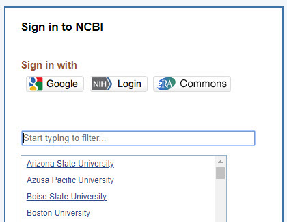 NCBI sign in using UA credentials