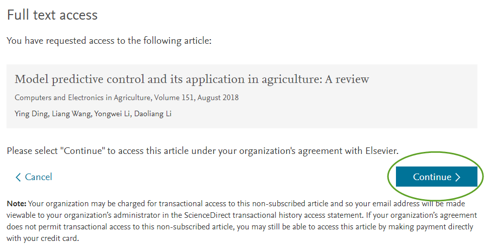 ScienceDirect step 4 - Continue to accept terms