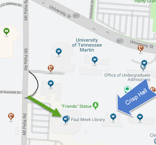 map showing library and Crisp Hall