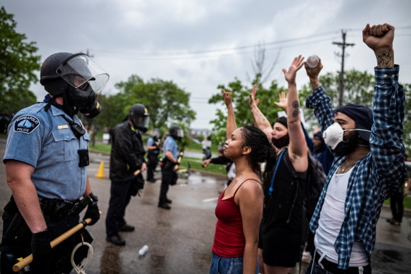 protesters outside 3rd precinct in Minneapolis
