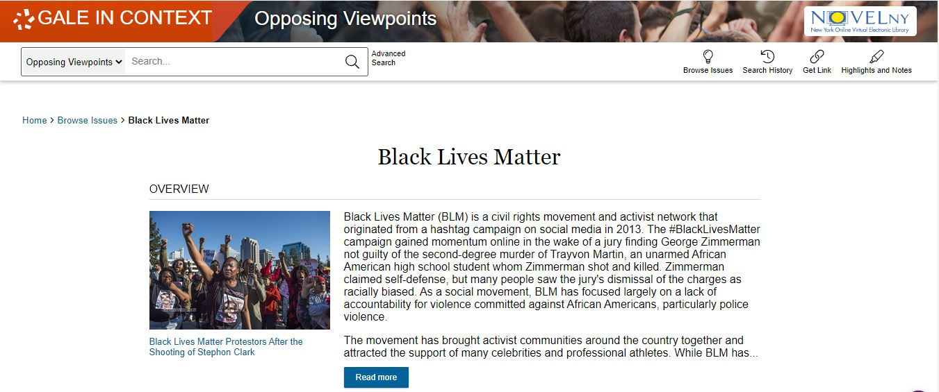 opposing viewpoints page on Black Lives Matter