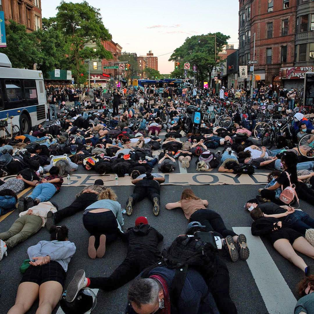 protesters in Brooklyn over the killing of George Floyd