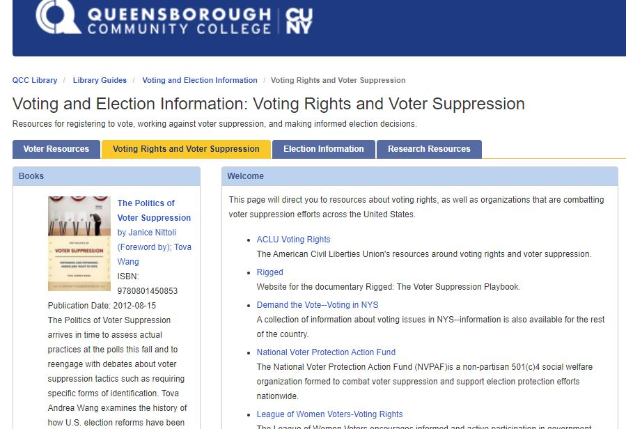 screenshot of library guide to voting resources
