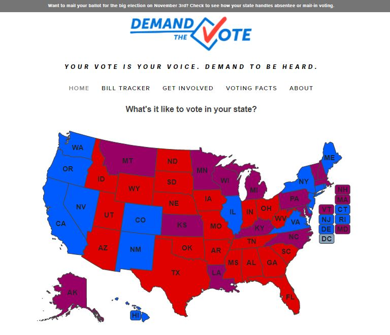 image of Demand the Vote website