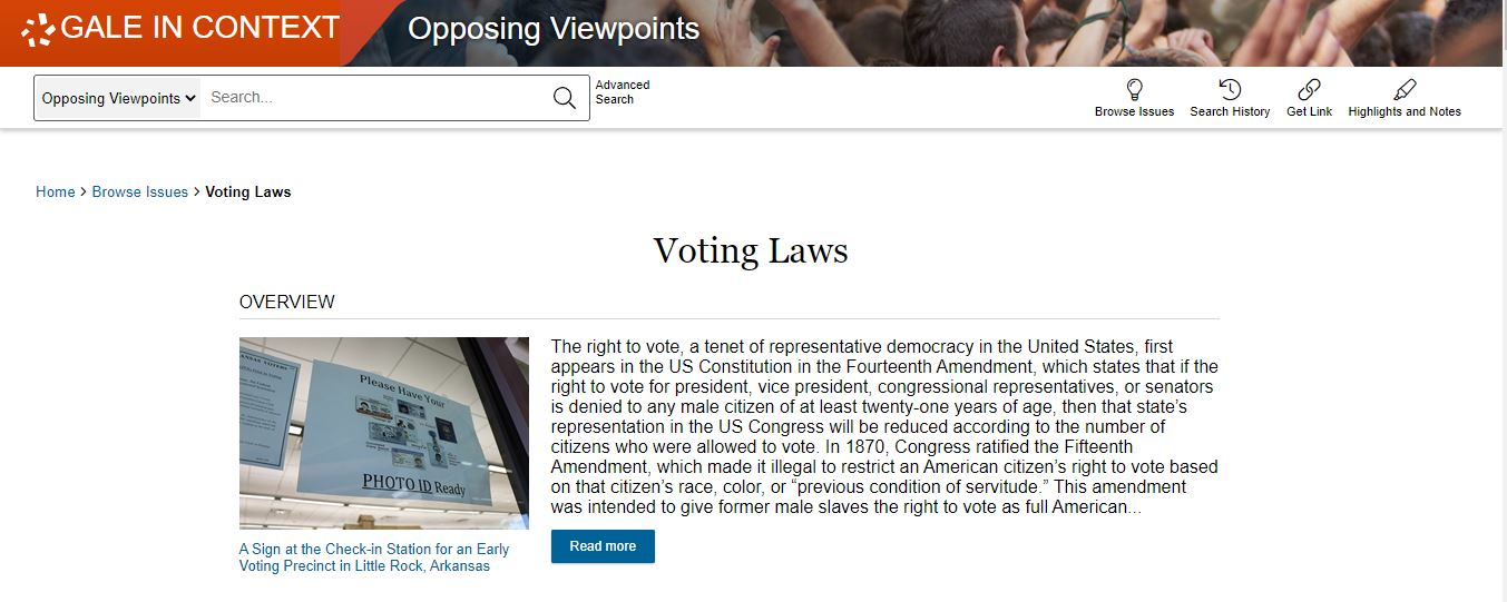 Opposing Viewpoints voting laws page