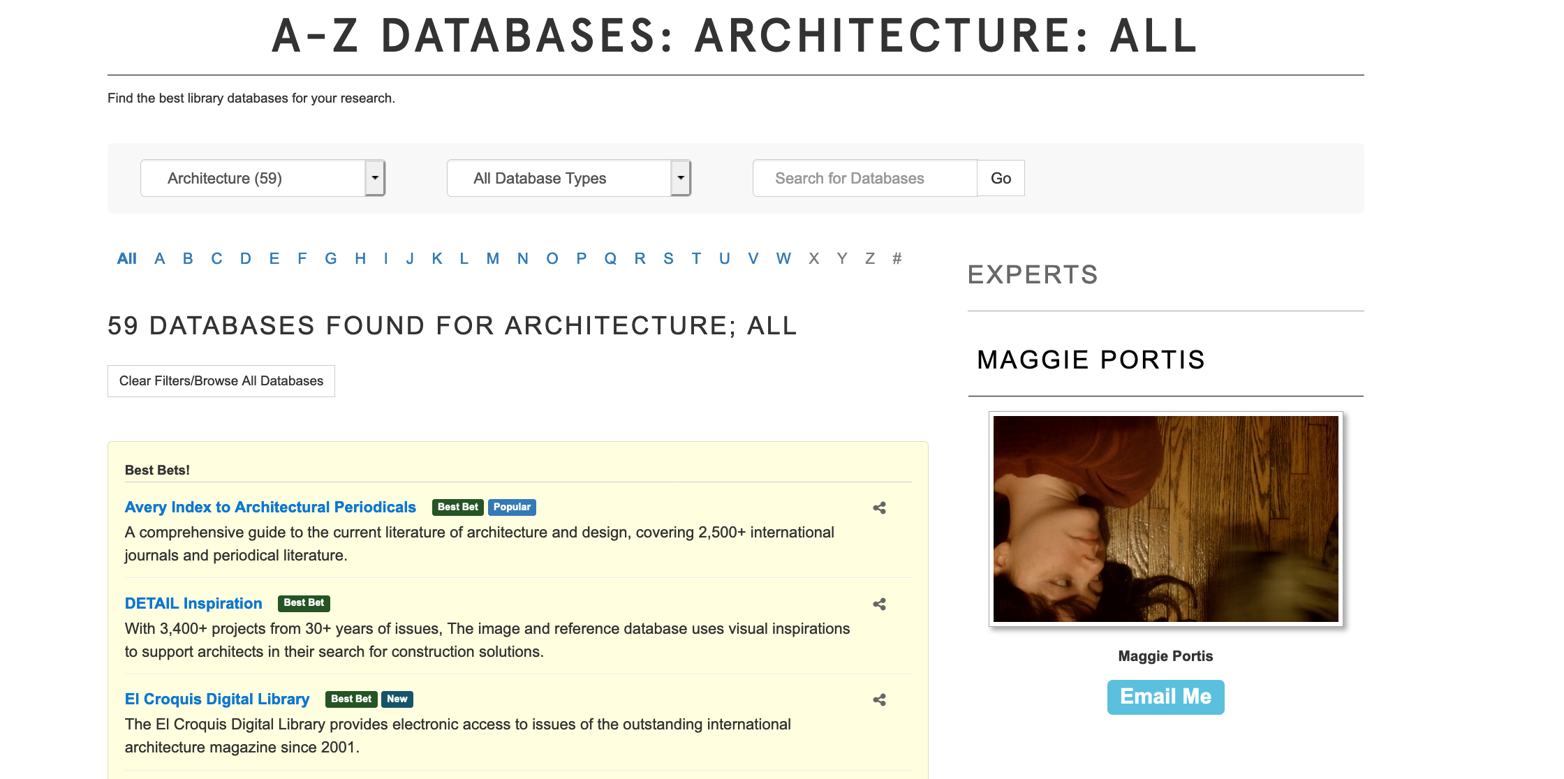 Example results of filtering databases by subject