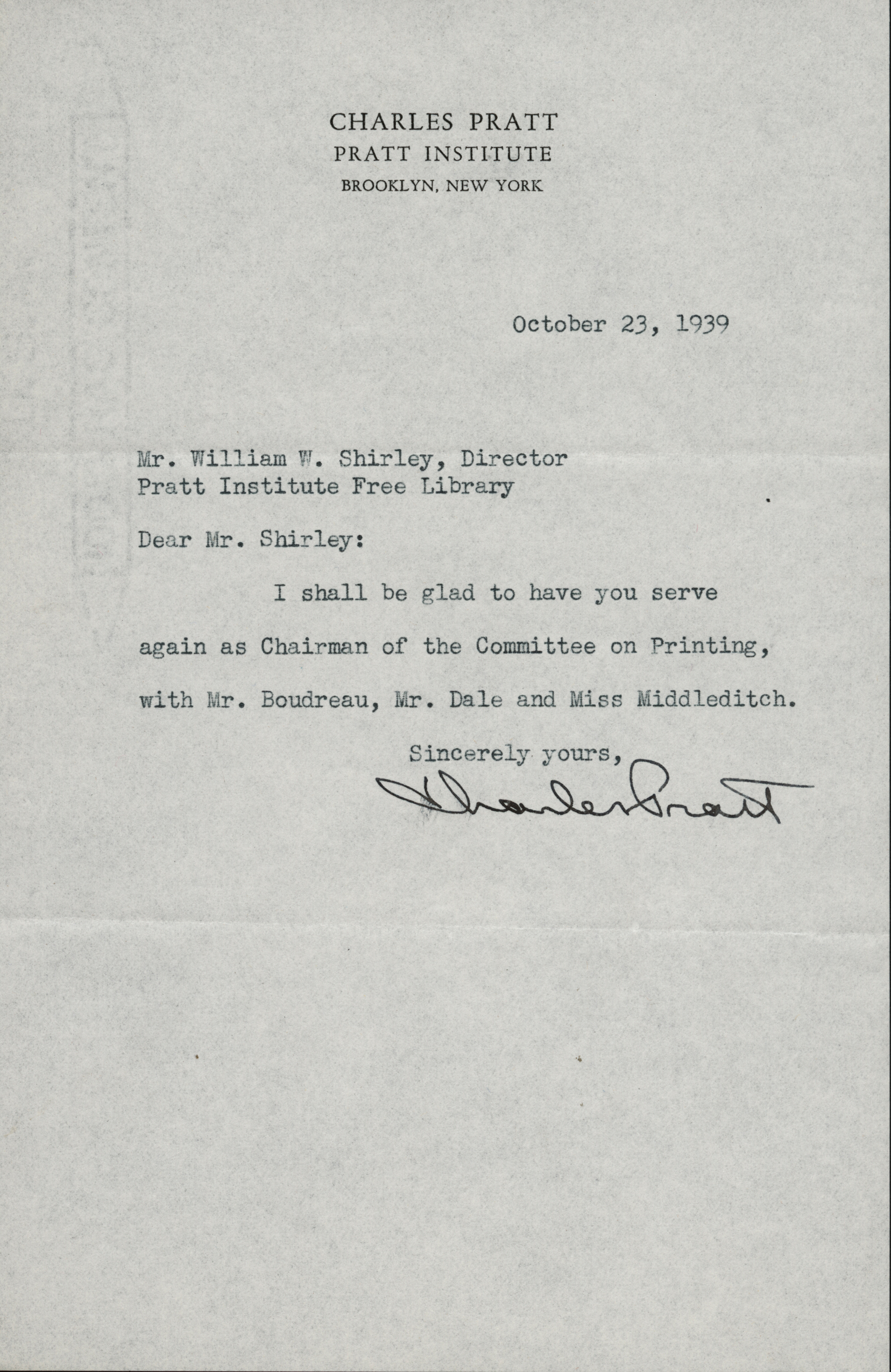 Typewritten letter from Charles Pratt to William W. Shirley, director of the Pratt Institute Free Library