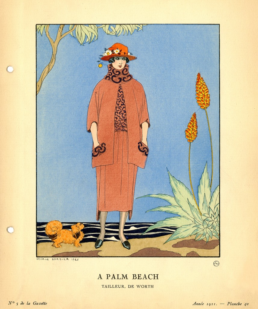 A fashion plate of a woman wearing a matching, bright-orange dress and coat set