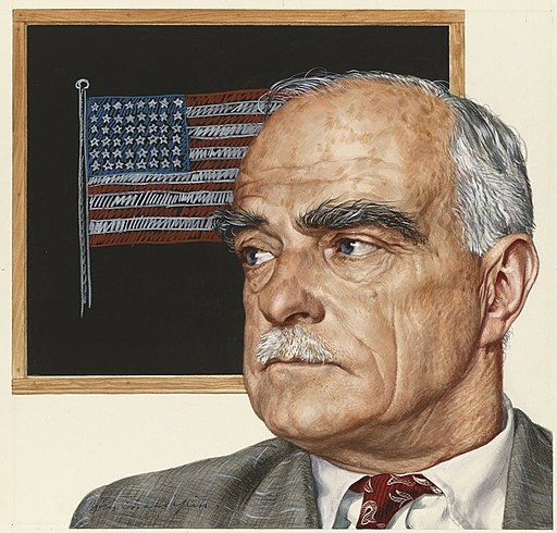 painting of Thornton Wilder in front of framed American flag