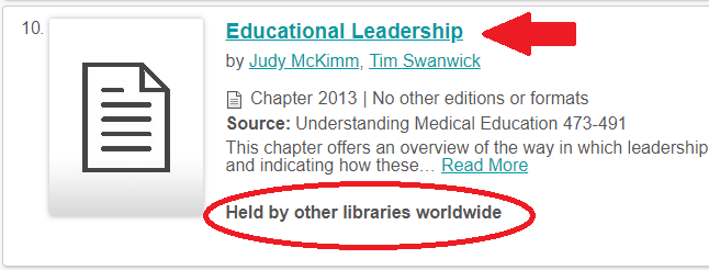 held by other libraries text highlighted with red oval