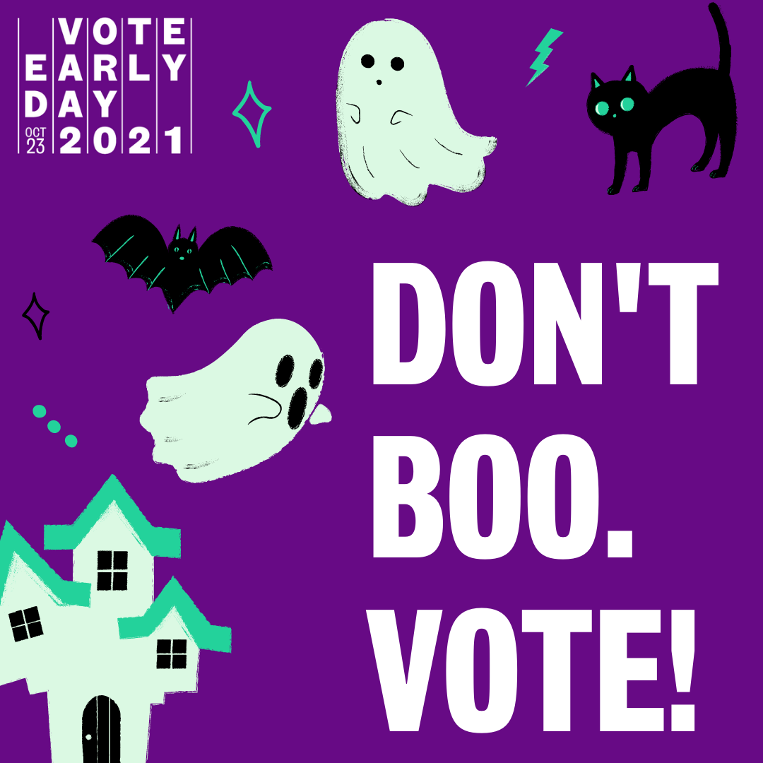 halloween graphics with text don't boo, vote.