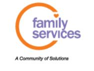 family services logo with orange circle and purple text