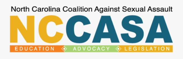 logo for north carolina coalition against sexual assault with yellow and blue letters