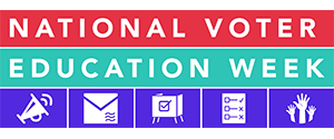logo for voter education week with graphics for mail, voting, ballots