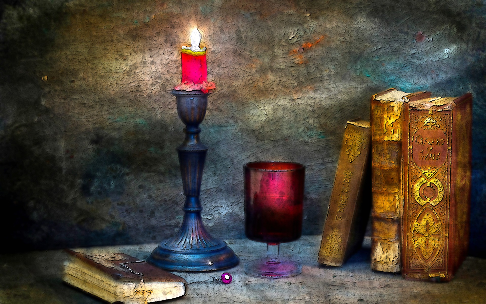 painting of old books by candlelight
