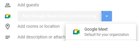 screenshot with google meet option shown