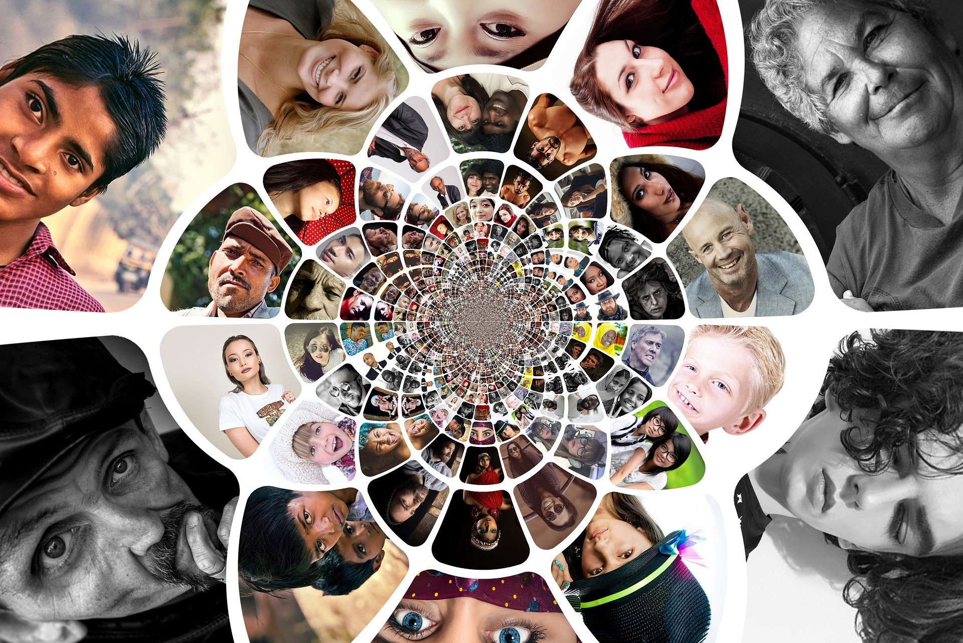 swirling photo collage of individual faces