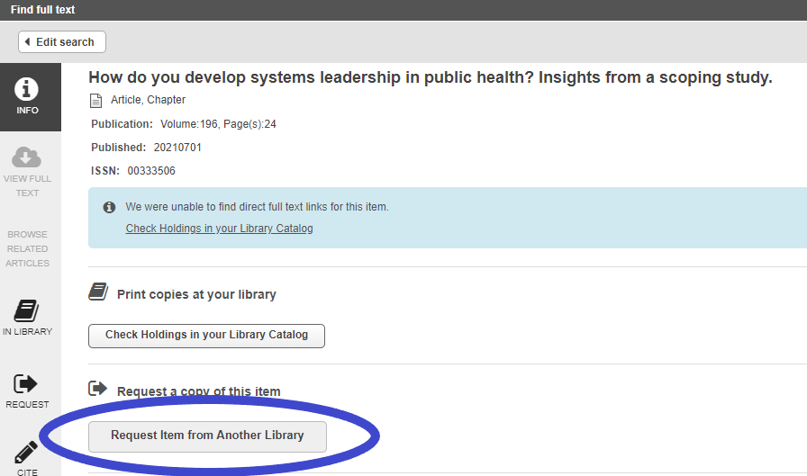 """screen shot of search results with blue circle around """"request from another library"""""""