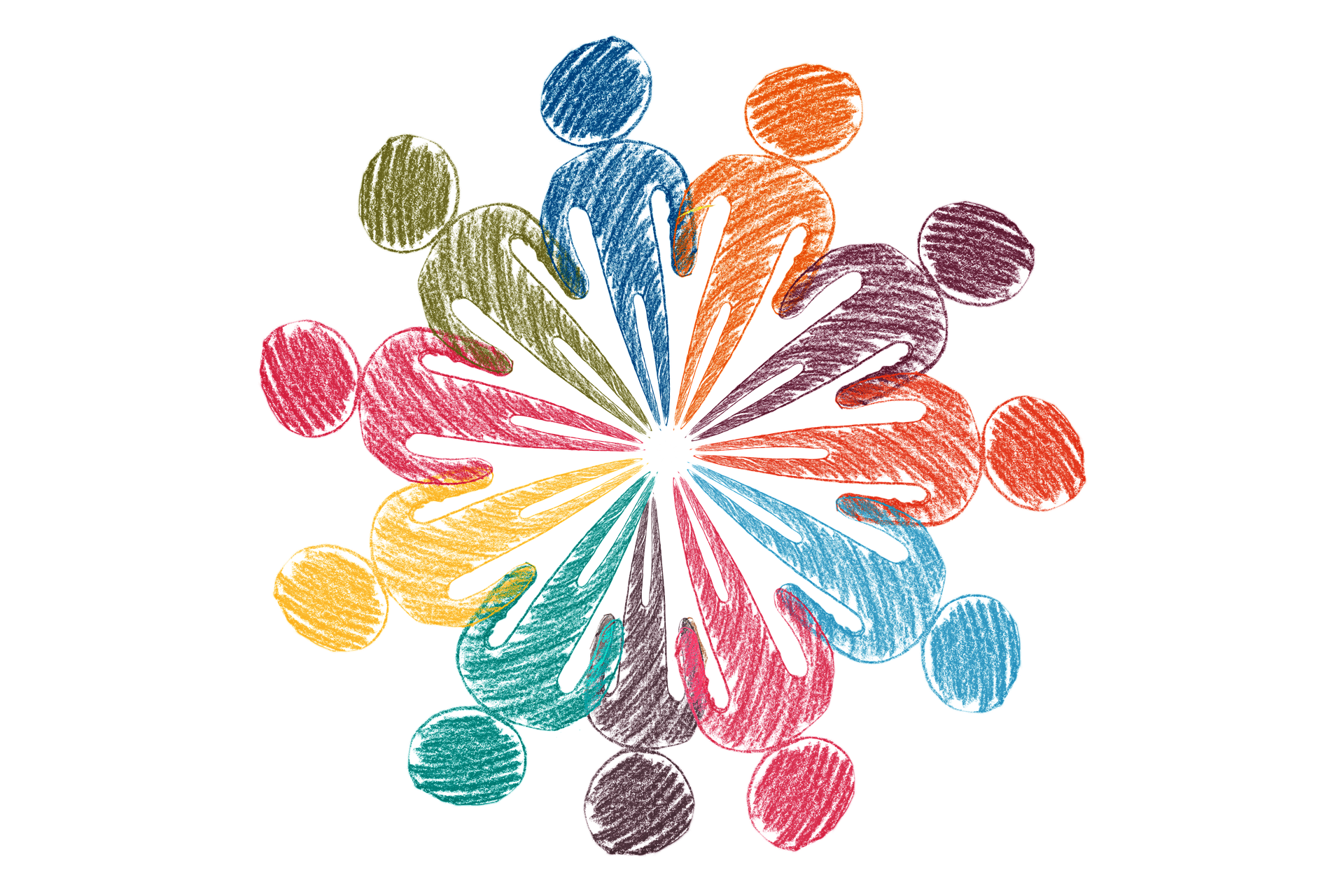 multicolored drawing of people figures arranged in circle