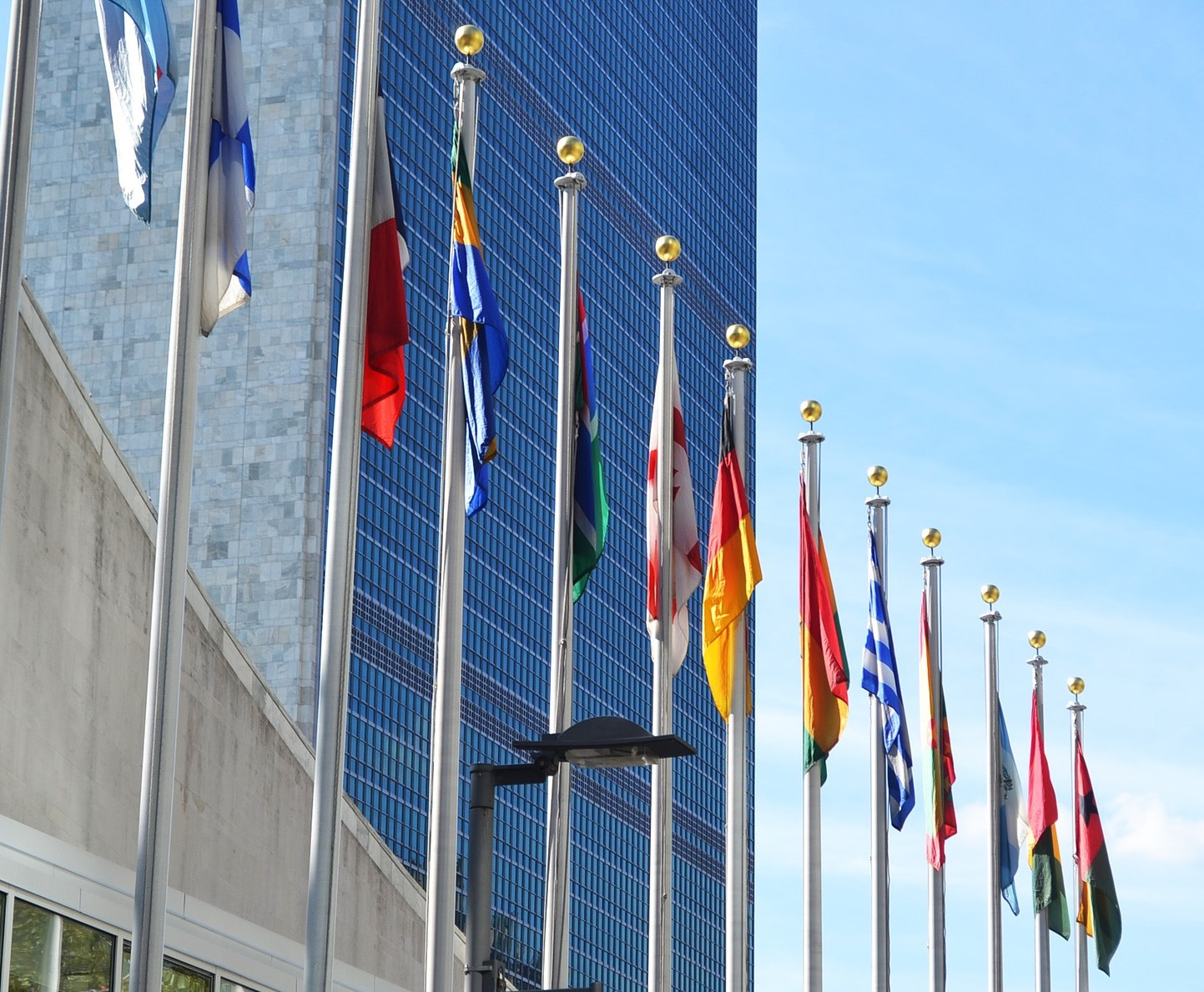 world flags in front of building