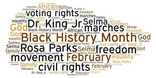 A word cloud with Black History Month terms