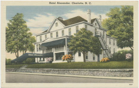 Postcard with drawing of Hotel Alexander in Charlotte, NC