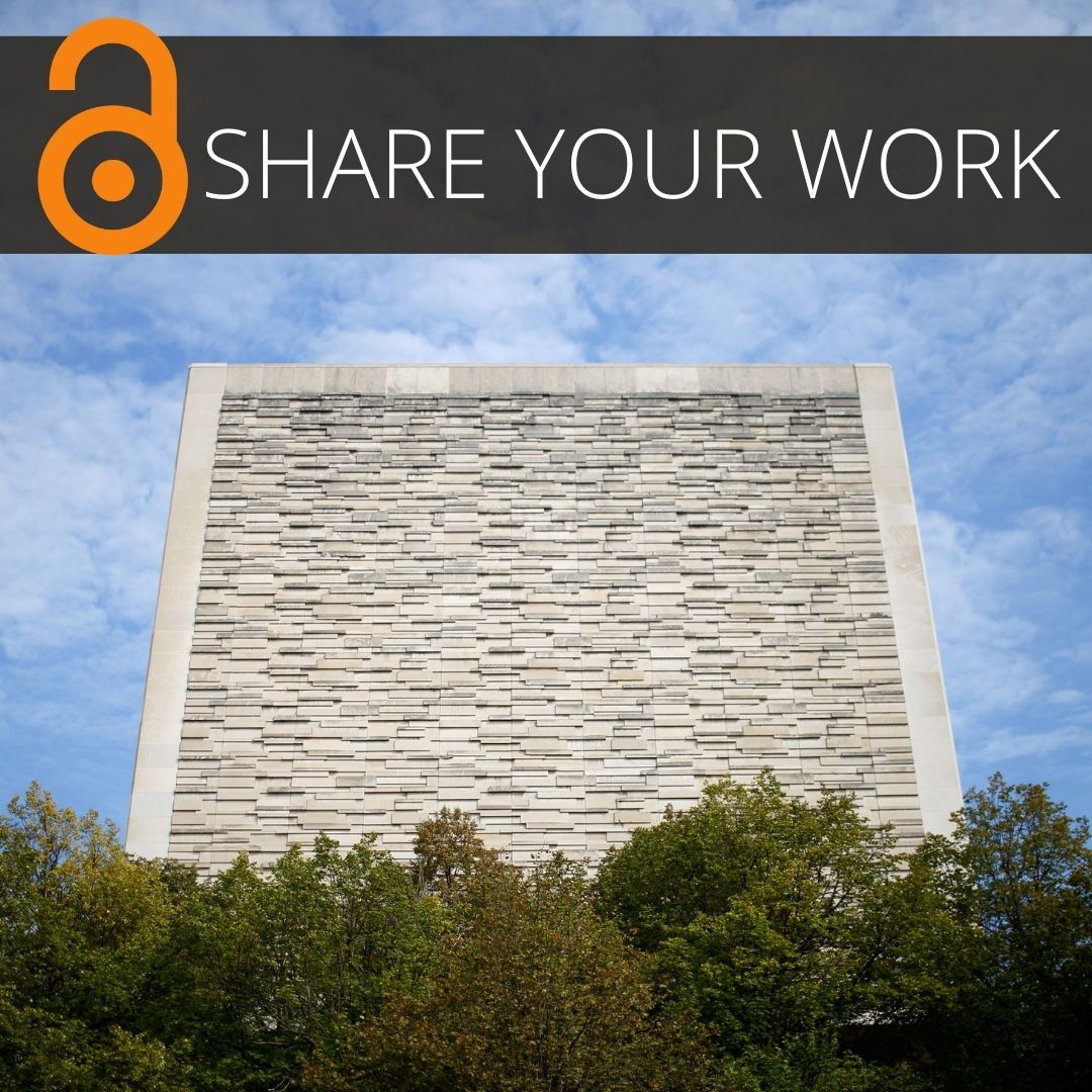 An image of the Sample Gates at Indiana University Bloomington with the words SHARE YOUR WORK across the top