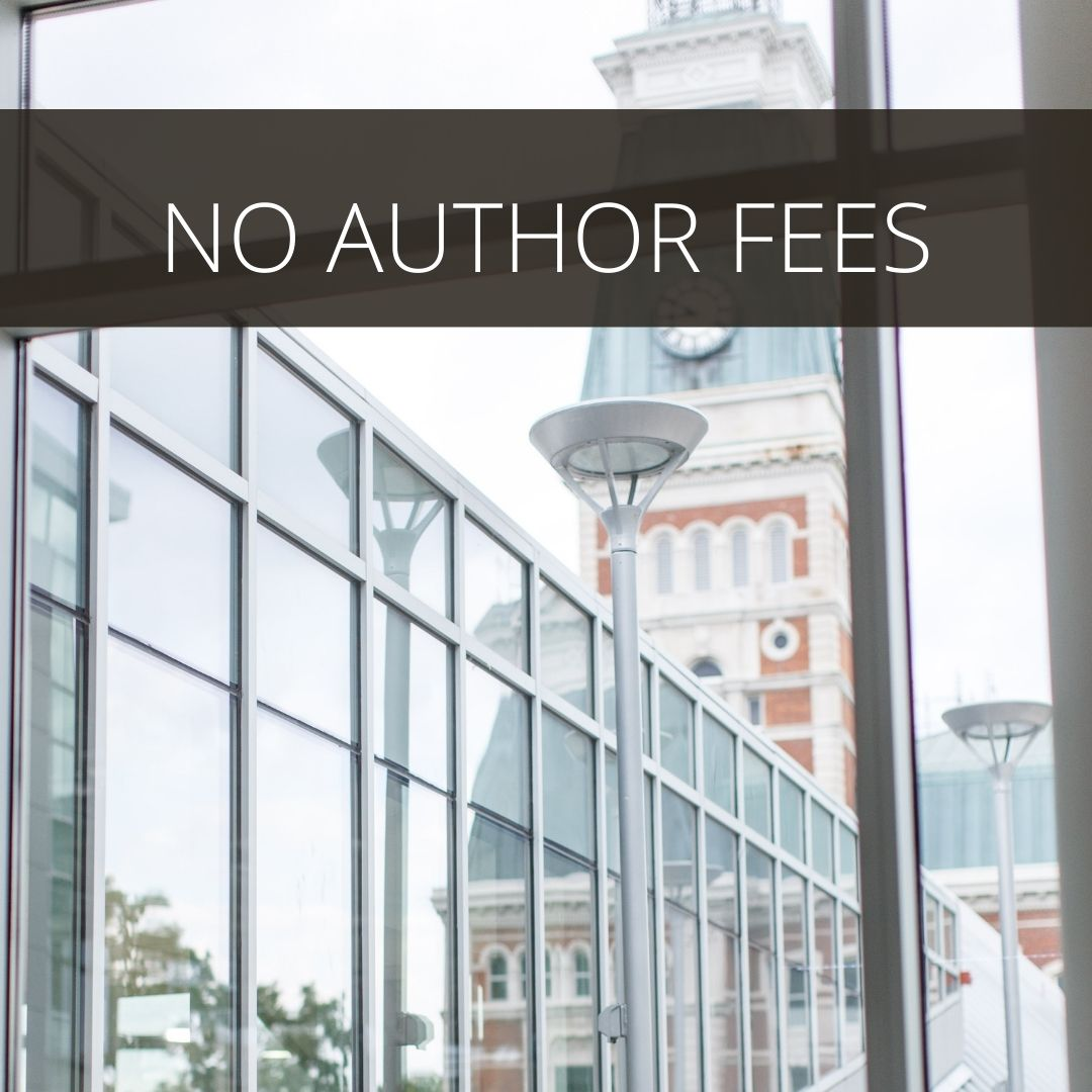 Picture of glass and stone buildings with the words NO AUTHOR FEES across the top