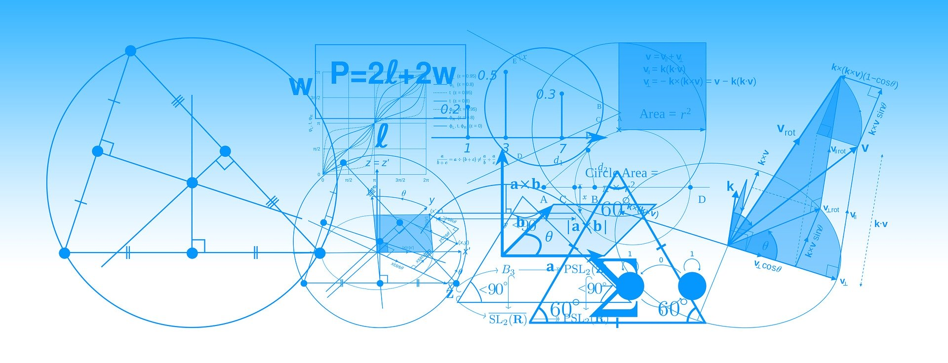blue & white image random math shapes & formulas
