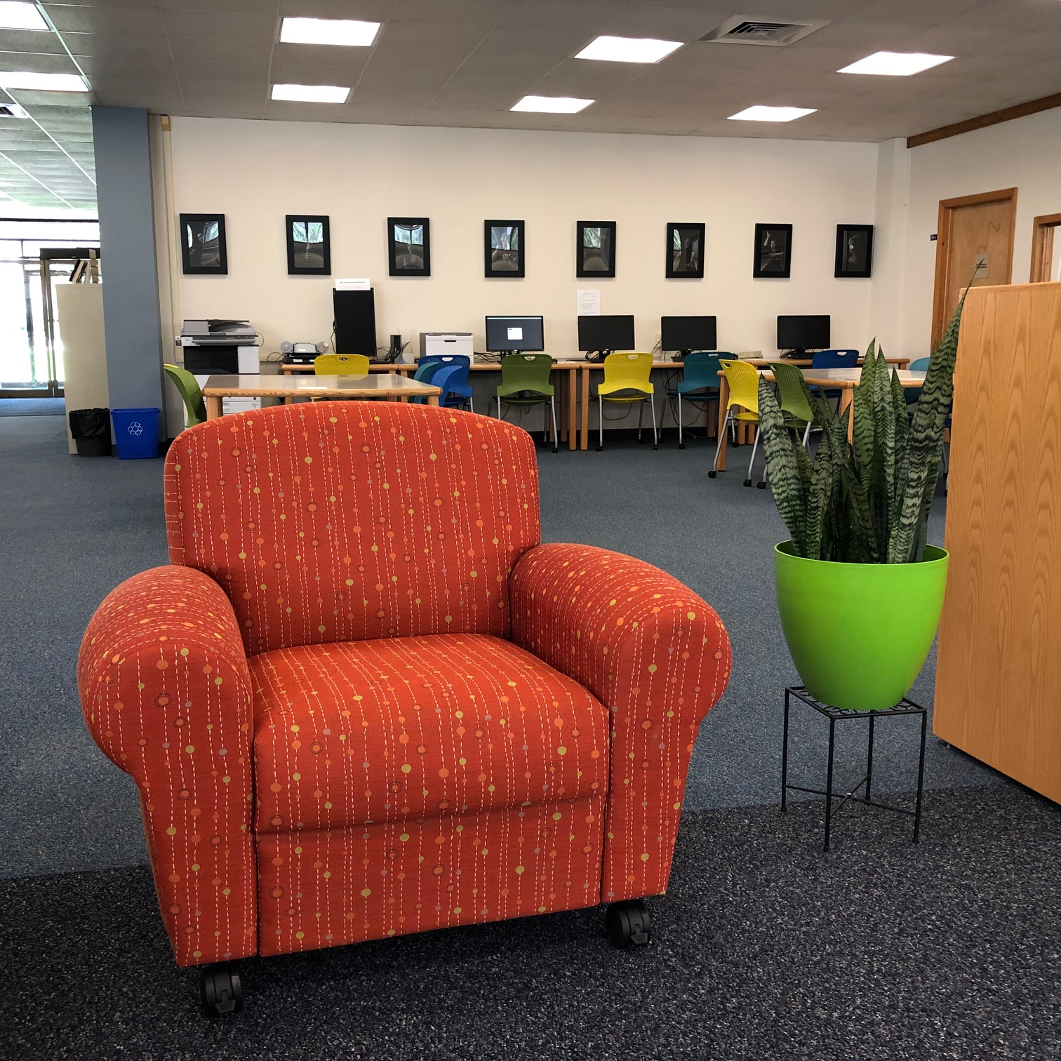 Comfy seat in new Learning Commons