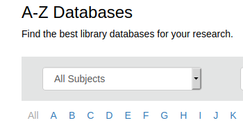 databases a to z subject dropdown