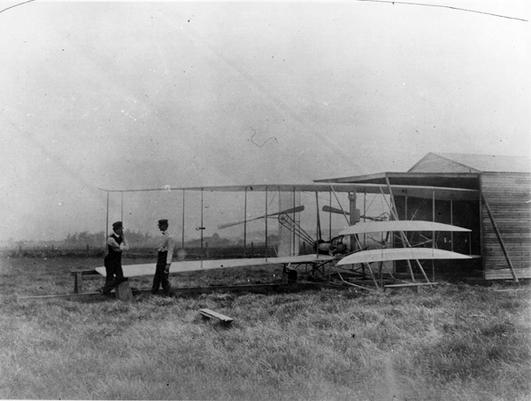 Orville and Wilbur Wright at Huffman Prairie in 1904