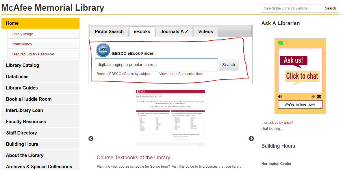 Finding ebooks 2: enter the title into the search box