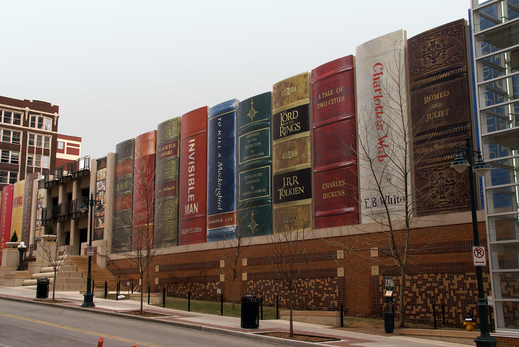 A photo of the Kansas City Public Library's book parking garage