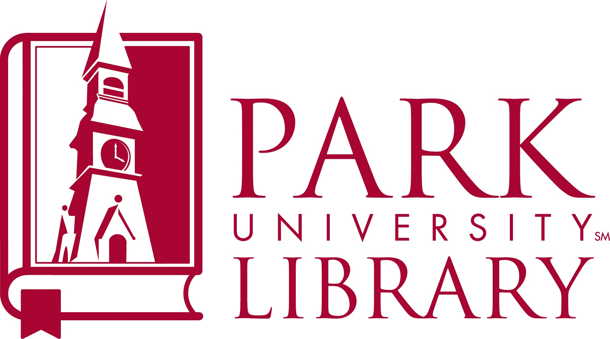 A maroon and white image of the Park library logo