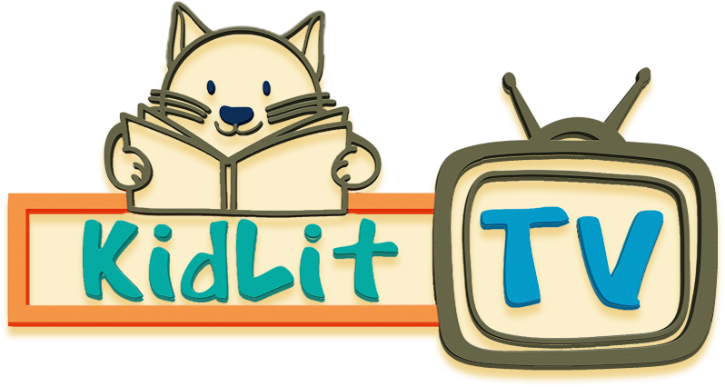 logo of a cat reading a book with the text KidLit beneath the cat and the letters TV framed by the outline of a cartoon television