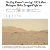 Image of New York Times Article on NASA Mars Helicopter 2021
