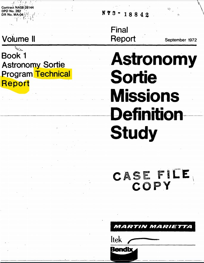 Image of Technical Report titles Astronomy Sortie Missions Definition Study