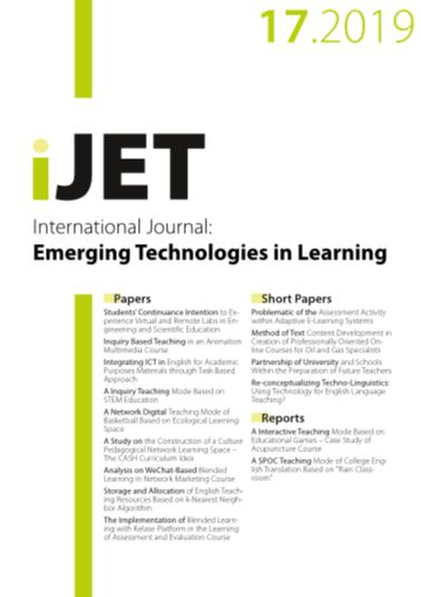 Image of International Journal of Emerging Technologies in Learning