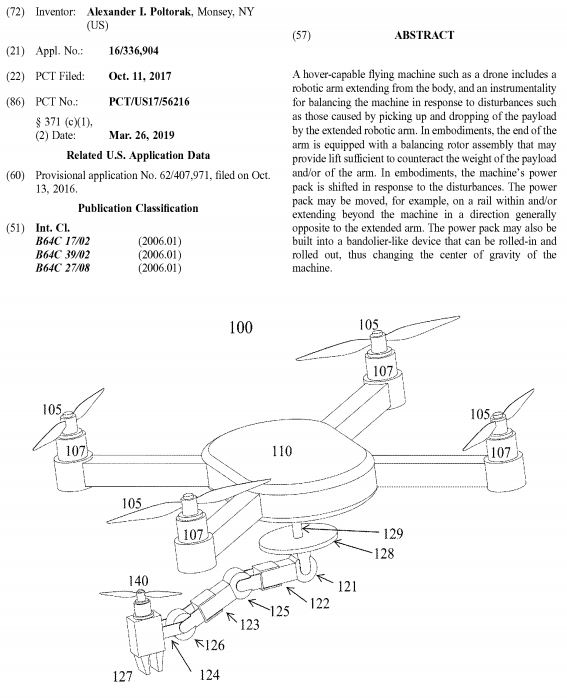 Image of US patent application number 20190276140A1: Apparatus and method for balancing aircraft with robotic arms