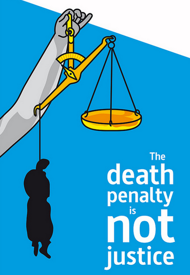 "hand of justice holding a scale, unbalanced by a silhouette of a hanging, dead body. Caption says, ""The death penalty is NOT justice."""