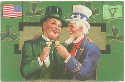 Uncle Sam and an Irish man sharing a drink, surrounded by American flags, Irish flags, and shamrocks.