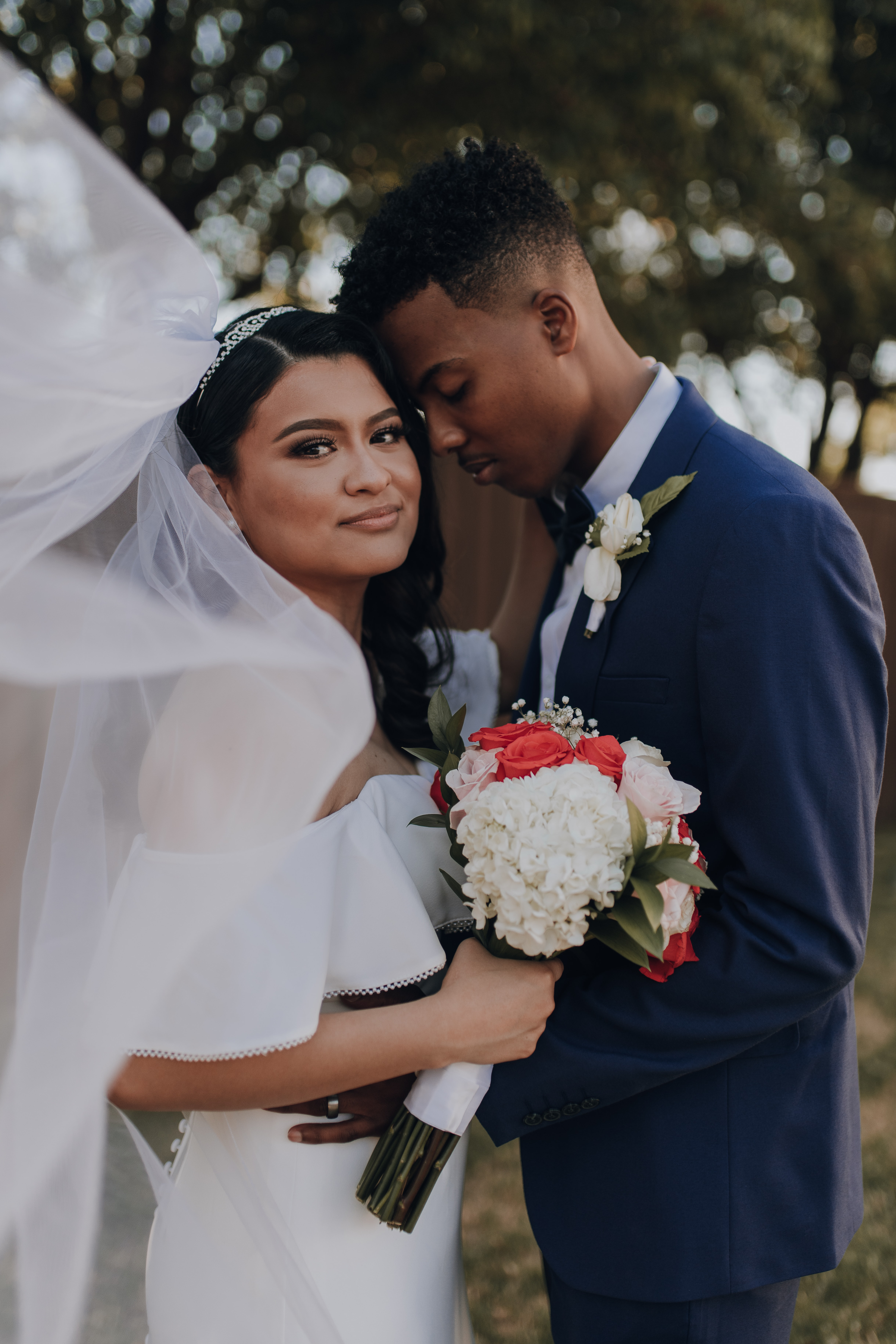 Young Hispanic couple getting married in Texas